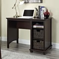 Altra Warren Credenza Desk with 2 Water Hyacinth Storage Bins