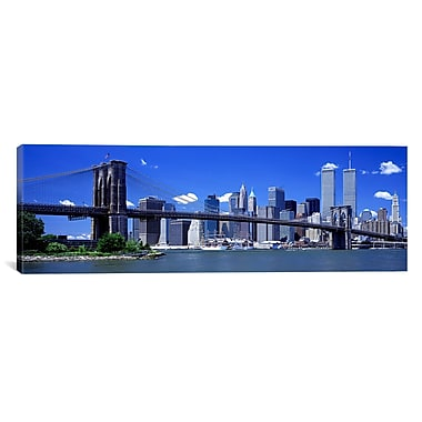 iCanvas Panoramic Brooklyn Bridge Skyline Photographic Print on Canvas; 30'' H x 90'' W x 1.5'' D