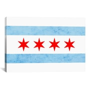 iCanvas Chicago Flag, Small Grunge Graphic Art on Canvas; 12'' H x 18'' W x 1.5'' D