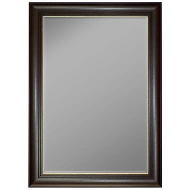 Second Look Mirrors Austrian Stepped Mahogany Gold Trim Wall Mirror; 36'' H x 18'' W