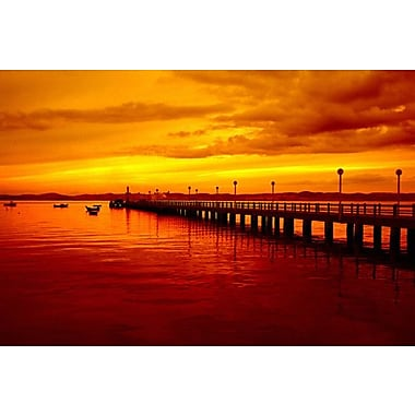 iCanvas Photography Sunset at the Pier Graphic Art on Canvas; 12'' H x 18'' W x 1.5'' D