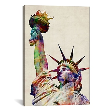 iCanvas 'Statue of Liberty' by Michael Tompsett Graphic Art on Canvas; 18'' H x 12'' W x 0.75'' D
