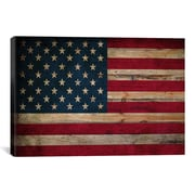 iCanvas Flags U.S.A. Wood Graphic Art on Canvas; 26'' H x 40'' W x 1.5'' D