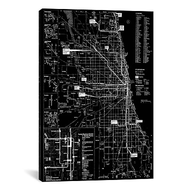iCanvas Modern Chicago Transit Negative Graphic Art on Canvas; 60'' H x 40'' W x 1.5'' D