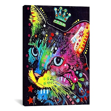 iCanvas 'Thinking Cat Crowned' by Dean Russoon Graphic Art on Canvas; 60'' H x 40'' W x 1.5'' D