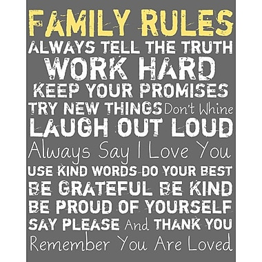 PTM Images Family Rules Framed Textual Art in Yellow