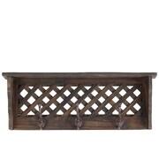 Woodland Imports Sturdy and Elegant Wooden Shelf and Coat Rack; Antique Black