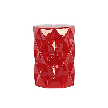 Woodland Imports Contemporary Ceramic Stool; Red