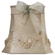 Jubilee Collection 11.25'' Floral Bouquet Dupioni Silk Square Lamp Shade; Ivory
