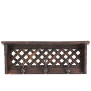 Woodland Imports Sturdy and Elegant Wooden Shelf and Coat Rack; Antique Dark Red