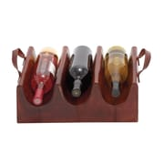 Woodland Imports Wood Real Leather 3 Bottle Wine Rack; Brown