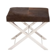 Woodland Imports Stainless Steel Leather Stool; Brown