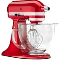 KitchenAid Artisan Design Series 5 Qt. Stand Mixer with Glass Bowl; Candy Apple Red