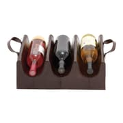 Woodland Imports Wood Real Leather 3 Bottle Wine Rack; Dark Gray