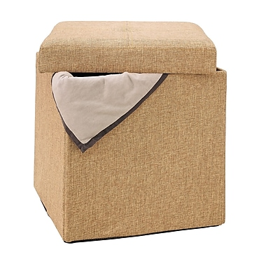 Simplify Collapsible Polyester Jute Storage Ottoman, Camel