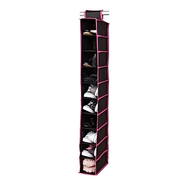 Simplify 10 Shelf Hanging Shoe Organizer Non-woven Shelf Black