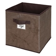 Simplify Faux Jute Polypropylene/Cardboard Box Cube, Brown