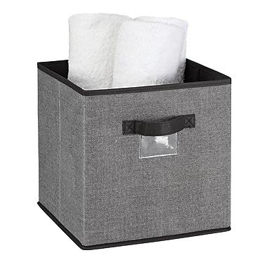 Simplify Faux Jute Polypropylene/Cardboard Box Cube, Grey