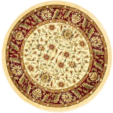 Safavieh Lyndhurst Collection Ivory and Red Round Area Rug 5'3