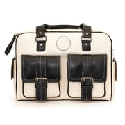 Jill-e Designs™ Leather Medium DSLR Camera Bag, Bone/Black