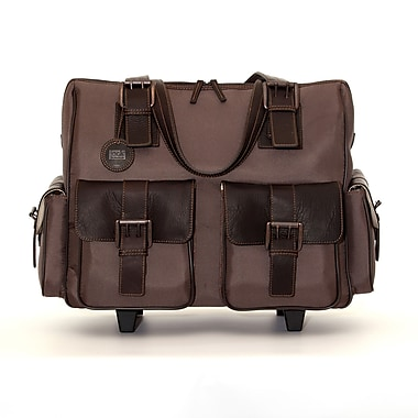 Jill-E Designs Jack Leather Rolling Camera Satchel, Large, Brown