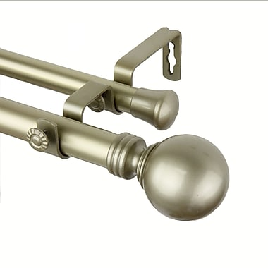 Rod Desyne Metal & Resin Globe Double Curtain Rod Set, 120
