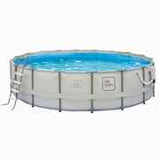 "Pro Series™ Round Metal Frame Swimming Pool, 15'(Dia) x 48""(D), Light Gray"