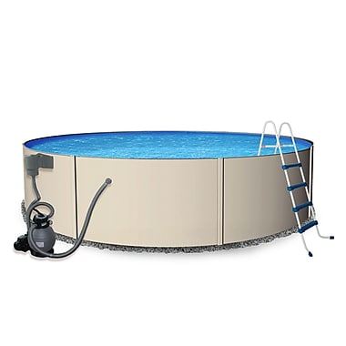 Blue Wave Rugged Steel Round Metal Wall Swimming Pool, 15'(Dia) x 52