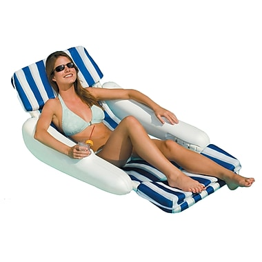Swimline® SunChaser™ Luxury Padded Floating Pool Lounge Chair, Blue/White