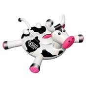 "Swimline® LOL™ 54"" Cow Inflatable Ride-On Pool Toy, White/Black"