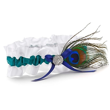 HBH™ White Peacock Feather Garter With Jade Satin Ribbon and Royal Blue Bow