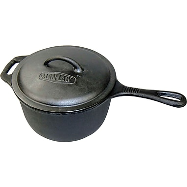 Man Law™ BBQ 3 qt Pre-Seasoned Cast Iron Grill Pot