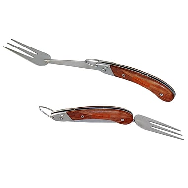 Man Law™ BBQ Heavy Duty Stainless Steel Foldable Fork With Rosewood Handle