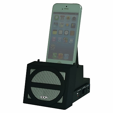 DOK™ Portable Universal Cradle With Speaker System (Bluetooth)/Rechargeable Battery, Black