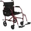 Medline Ultra Lightweight Transport Wheelchair , Red