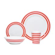Red Vanilla Race Stripe 16 Piece Dinnerware Set