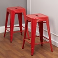TMS 24'' Avalon Metal Stackable Stool (Set of 2); Red