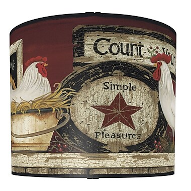 Illumalite Designs Hen and Rooster Drum Lamp Shade; 7''