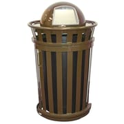 Witt Oakley 36-Gal Trash Receptacle with Slide Gate & Dome Top; Brown