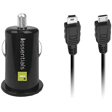 Iessentials USB Car Charger IE-PCP-2C with Micro & Mini Cables