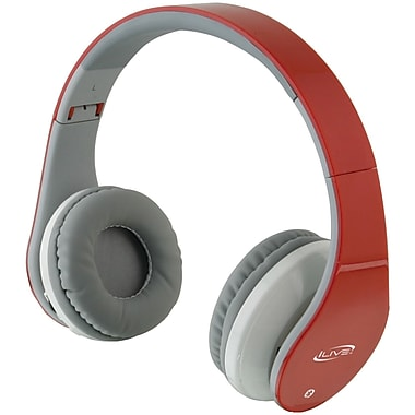 Ilive Blue IAHB64B Bluetooth IAHB64R Headphones, Red