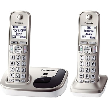 Panasonic KX-TGD212N Single Line Cordless Phone with 2-Handset, Gold