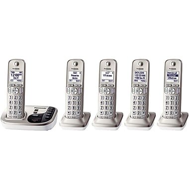Panasonic KX-TGD225N Single Line Cordless Office Telephone with 5-Handset, Champagne Gold