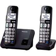 Panasonic PANKXTGE212B Single Line Expandable Digital Cordless Answering System with 2-Handset, Black