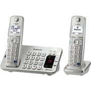 Panasonic KX-TGE272S Single Line Cordless Bluetooth Enabled Phone with 2-Handset, Silver