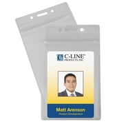 C-Line® Zippered Vertical Badge Holders, 50/Pack