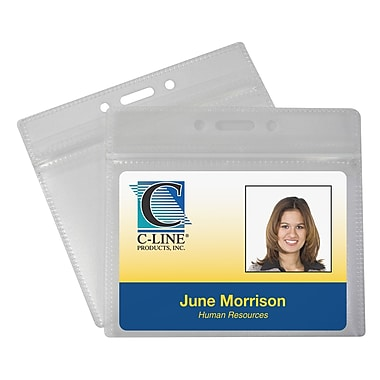 C-Line® Zippered Horizontal Badge Holders, 50/Pack