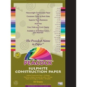 Pacon® Peacock® Sulphite Construction Paper, Black, 18(H) x 12(W), 50 Sheets