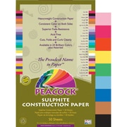 Pacon® Peacock® Sulphite Construction Paper, Assorted, 18(H) x 12(W), 50 Sheets