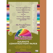 Pacon® Peacock® Sulphite Construction Paper, Brown, 18(H) x 12(W), 50 Sheets
